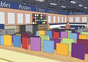 详细的超市完整空间设计SU(草图大师)模型