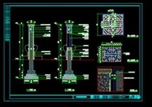 中式元素特色小品景墙素材设计cad施工图
