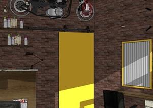理發店空間室內設計SU(草圖大師)模型