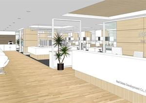 大型办公详细空间装饰设计SU(草图大师)模型