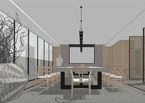 中式禅意办公空间装饰设计SU(草图大师)模型
