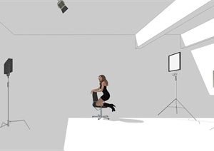 Loft摄影工作室详细空间设计SU(草图大师)模型