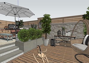 地中海復古住宅花園景觀設計SU(草圖大師)模型