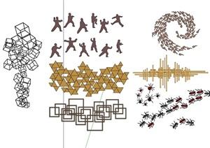 新中式风格墙饰组合素材SU(草图大师)模型