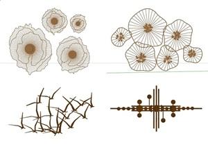 新中式风格四个墙饰组合素材SU(草图大师)模型