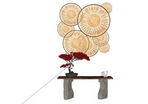 新中式風格墻飾及桌子組合素材SU(草圖大師)模型