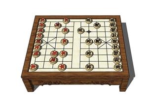 室內詳細的象棋裝飾品素材SU(草圖大師)模型