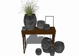 室内详细的装饰品及桌子素材SU(草图大师)模型