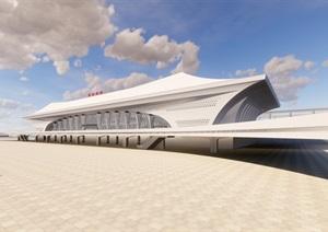 某高铁站建筑概念设计投标方案SU(草图大师)精细模型