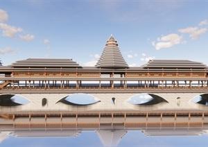 某木桥结合砖SU(草图大师)精细模型