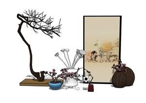 室內詳細的裝飾品、裝飾畫素材設計SU(草圖大師)模型