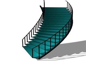 某室内详细的铁艺楼梯设计SU(草图大师)模型