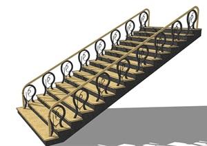 某欧式独特室内详细的楼梯设计SU(草图大师)模型