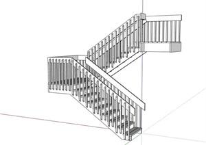 无材质贴图室内完整的楼梯素材设计SU(草图大师)模型