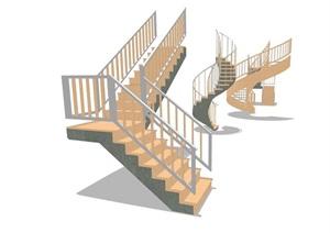 现代风格室内完整的楼梯素材设计SU(草图大师)模型