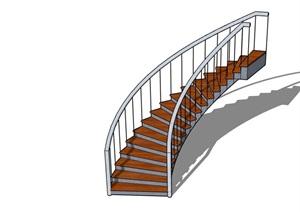 某现代室内楼梯独特素材设计SU(草图大师)模型