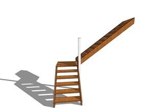 某现代室内木质楼梯素材设计SU(草图大师)模型