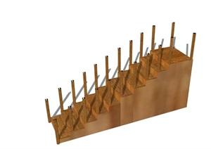某现代室内木质完整楼梯素材设计SU(草图大师)模型