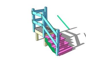 某现代室内简单楼梯素材设计SU(草图大师)模型