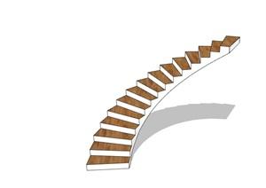 某现代旋转楼梯素材设计SU(草图大师)模型