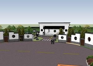 美丽乡村生态庄园游客中心村庄入口停车场景观设计方案