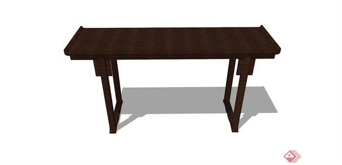 中式风格详细的木质桌子su模型