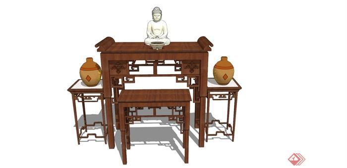 古典中式风格详细的木质桌子su模型
