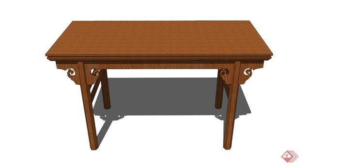 中式風格詳細的木質桌子素材設計su模型