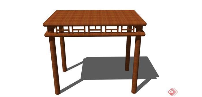 獨特古典中式風格詳細的木質桌子su模型