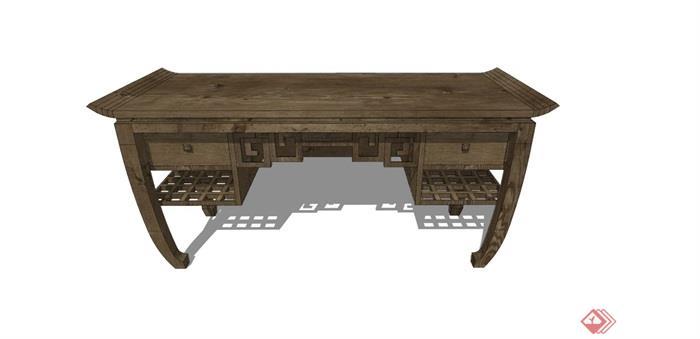 中式独特详细的木质桌子su模型