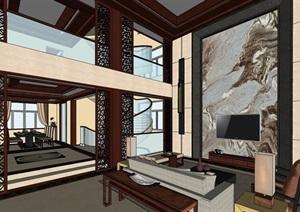 中式家装别墅样板室内设计SU(草图大师)模型