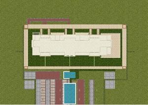 3个上海宝华源墅新古典别墅单体建筑方案SU(草图大师)模型
