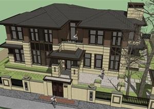 3个南京大吉汤泉东方草原风别墅单体建筑方案SU(草图大师)模型