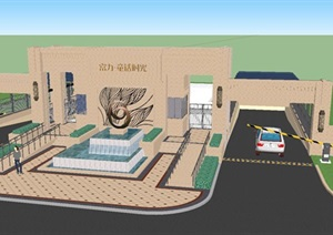 富力童話時光新古典大門入口與車庫雨棚景觀方案SU(草圖大師)模型
