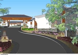 杭州雅谷泉山庄中式酒店建筑方案SU(草图大师)模型