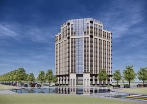 某市新古典转角办公楼方案