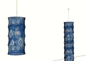 布依族蜡染元素吊灯(竹、铜鼓元素)