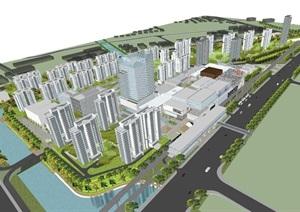上海青浦徐盈路宝龙上盖综合开发建筑设计方案SU(草图大师)模型