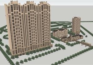 松原中信城新古典會所 高層 洋房建筑方案SU(草圖大師)模型