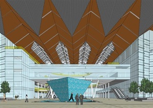 苏州汽车西站(大跨度结构)建筑方案SU(草图大师)模型