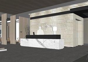 现代禅意地产公司办公空间装潢方案SU(草图大师)模型