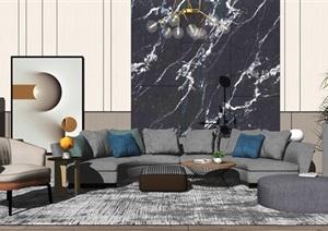 现代客厅沙发茶几组合SU(草图大师)模型1