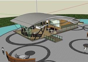 详细的餐饮建筑楼设计SU(草图大师)模型