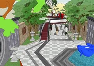 新中式文化宫巷景观改造设计方案SU(草图大师)模型