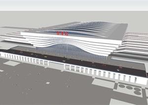 2个现代襄阳东津高铁站建筑方案SU(草图大师)模型