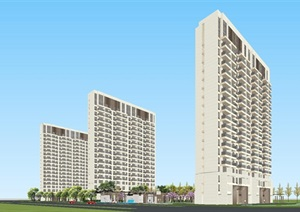 現代中式風格大家名門府壹號院整體建筑與景觀方案SU(草圖大師)模型