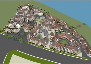 南昌绿地欧式卢塞恩小镇建筑与景观方案SU(草图大师)模型