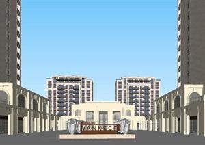 南京万科大都会风格高层示范区+售楼处建筑方案SU(草图大师)模型