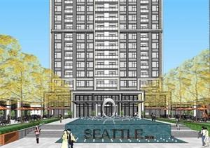 杭州萬科融信西雅圖高層住宅 商業項目建筑與景觀方案SU(草圖大師)模型