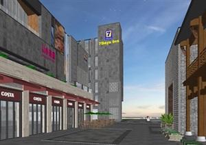 合肥罍街新中式商业街改造建筑方案SU(草图大师)模型(附CAD平面与主要经济技术指标)